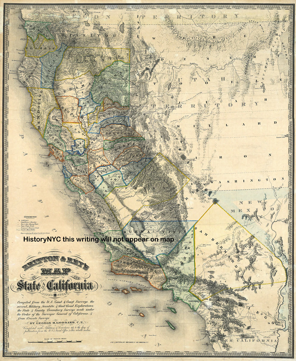Welcome To Historynyc + Historical Maps, Poster, Books And Custom - Historical Map Of California