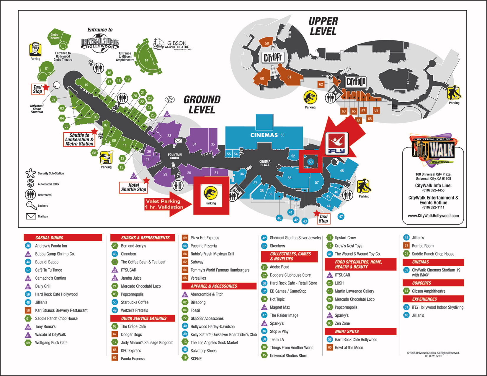 Welcome Universal Citywalk Guests! - Ifly Hollywood - Universal Citywalk California Map