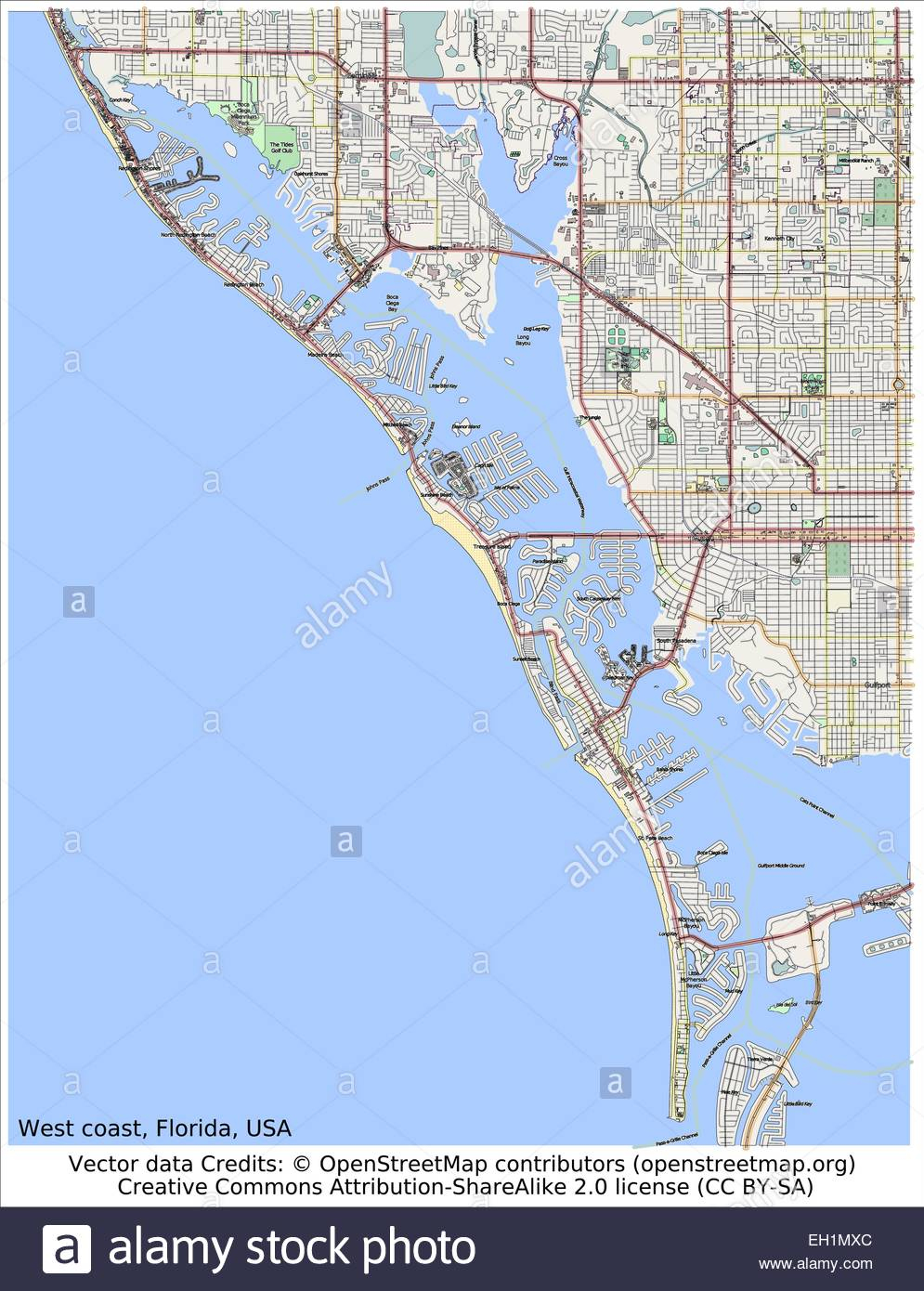 West Coast Florida Usa Area Map Stock Vector Art & Illustration - Map Of West Coast Of Florida Usa