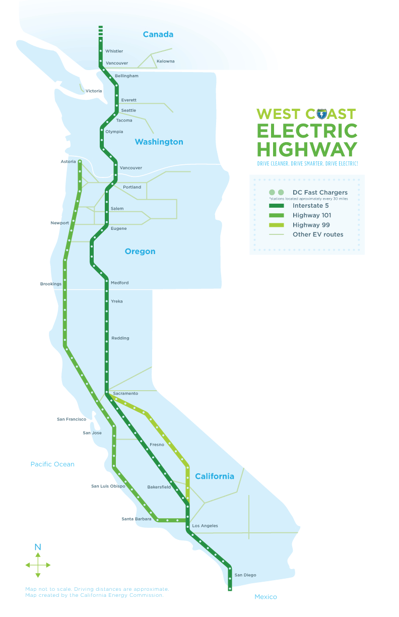 West Coast Green Highway: West Coast Electric Highway - Dc Fast Charging Stations California Map