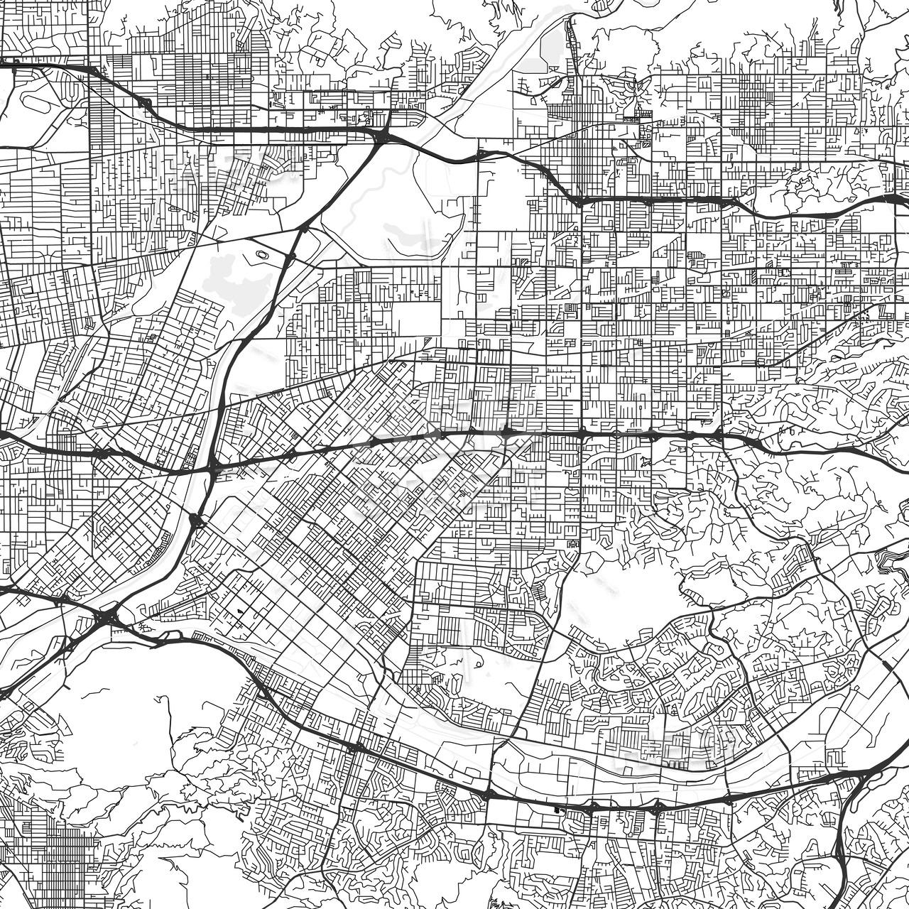 West Covina, California - Area Map - Light | Hebstreits - West Covina California Map