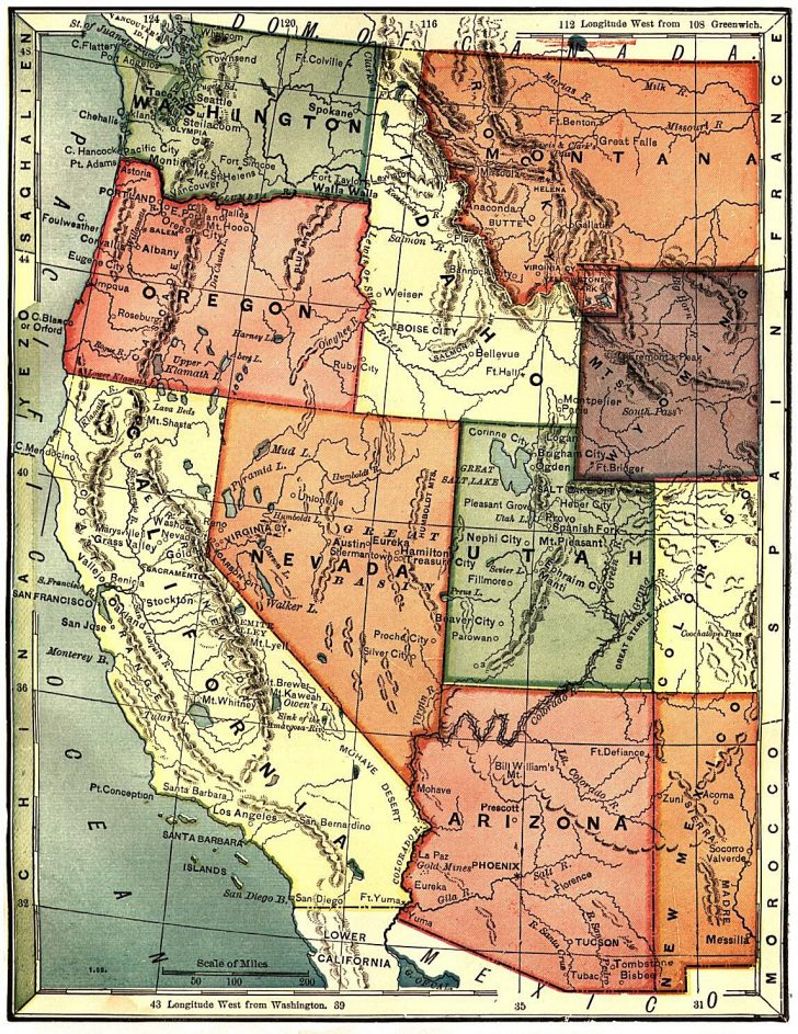 California Oregon Washington Map