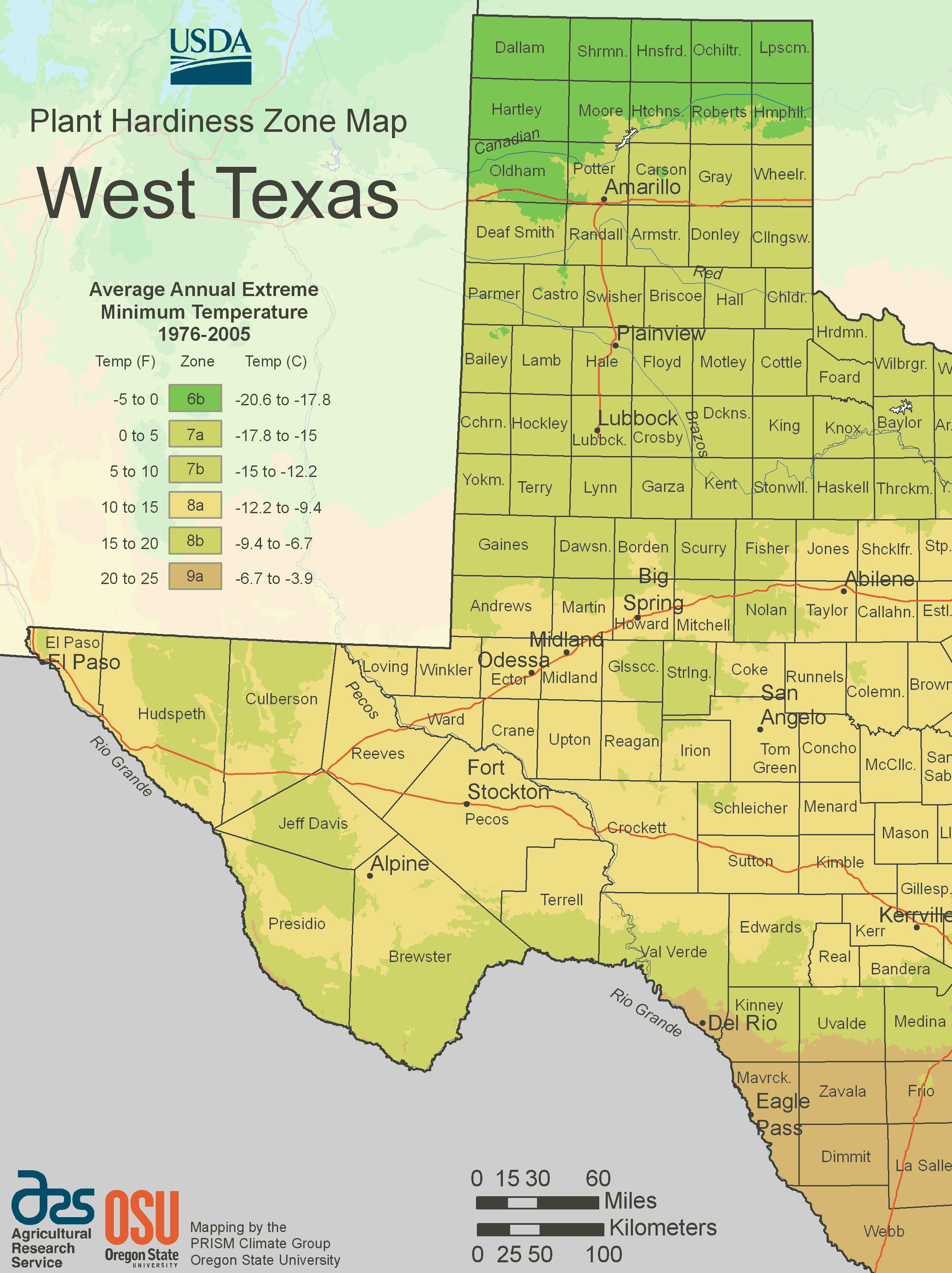 West Texas Plant Hardiness Zone Map • Mapsof - Texas Garden Zone Map