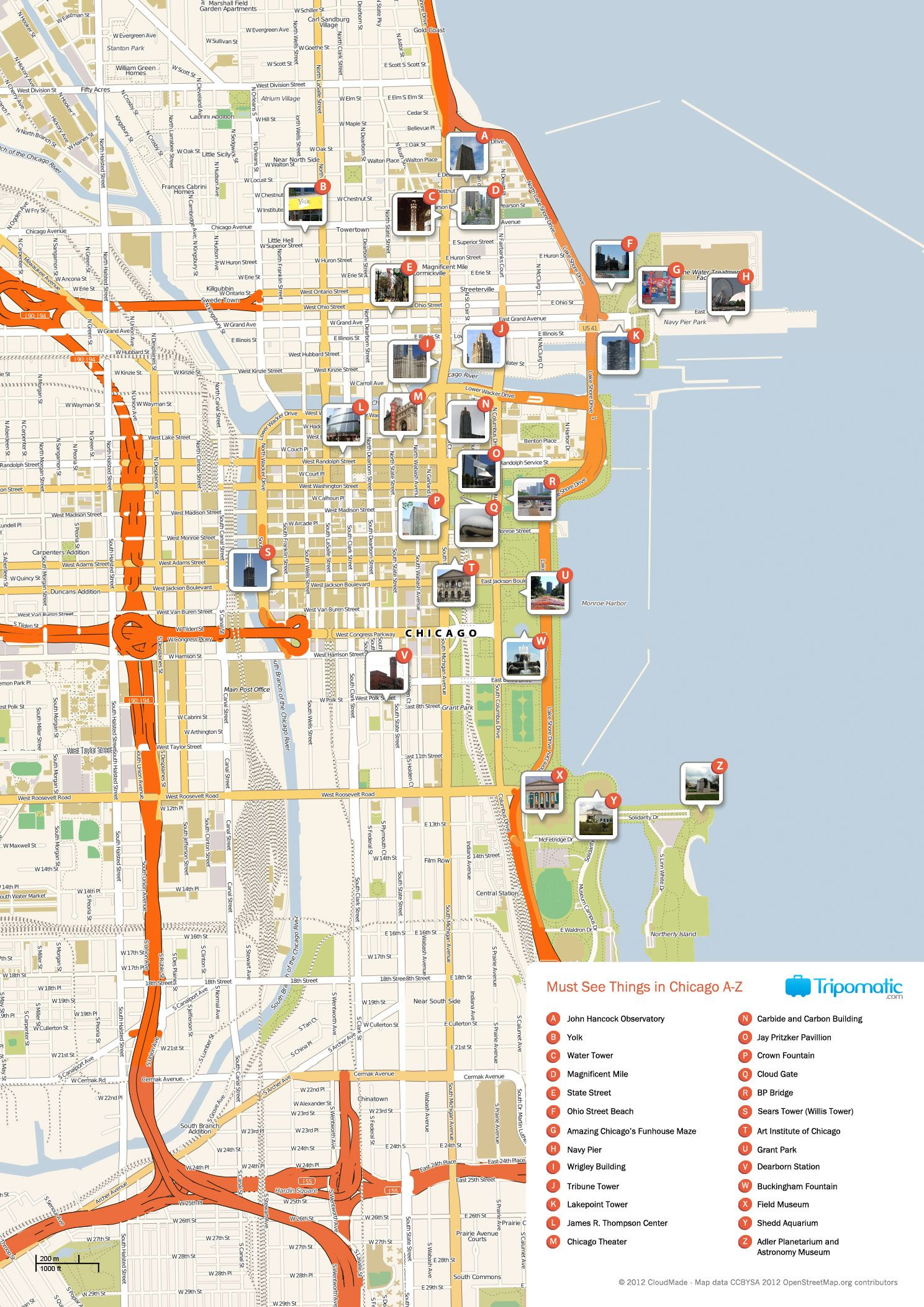 What To See In Chicago - Printable Map Of Downtown Chicago Attractions