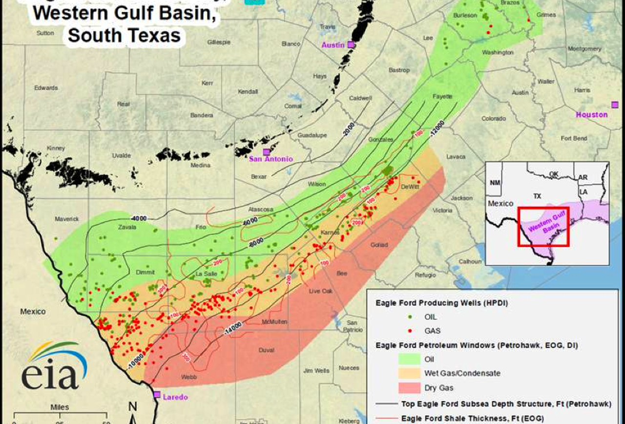 What's Wrong With The Eagle Ford Shale? - Texas Rig Count Map