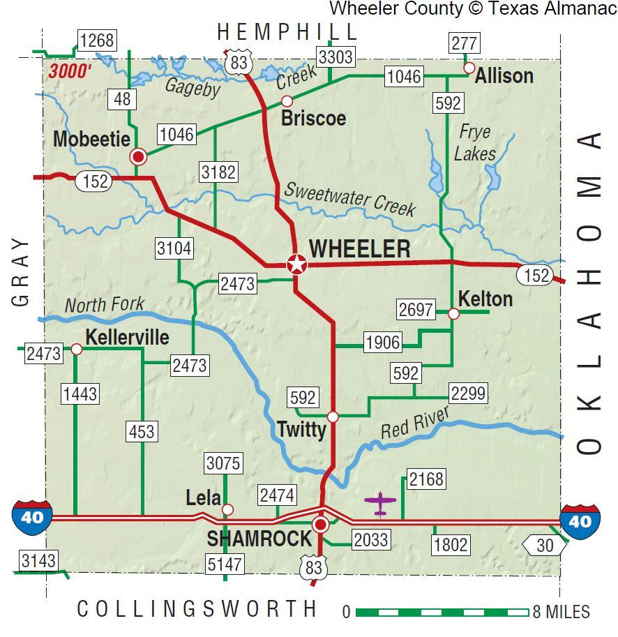 Wheeler County | The Handbook Of Texas Online| Texas State - Pampa Texas Map