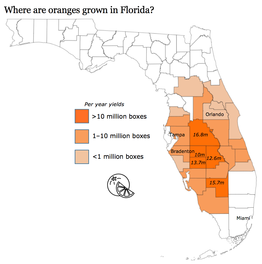 Where Do Oranges Grow In Florida? - Where Are Oranges Grown In Florida Map