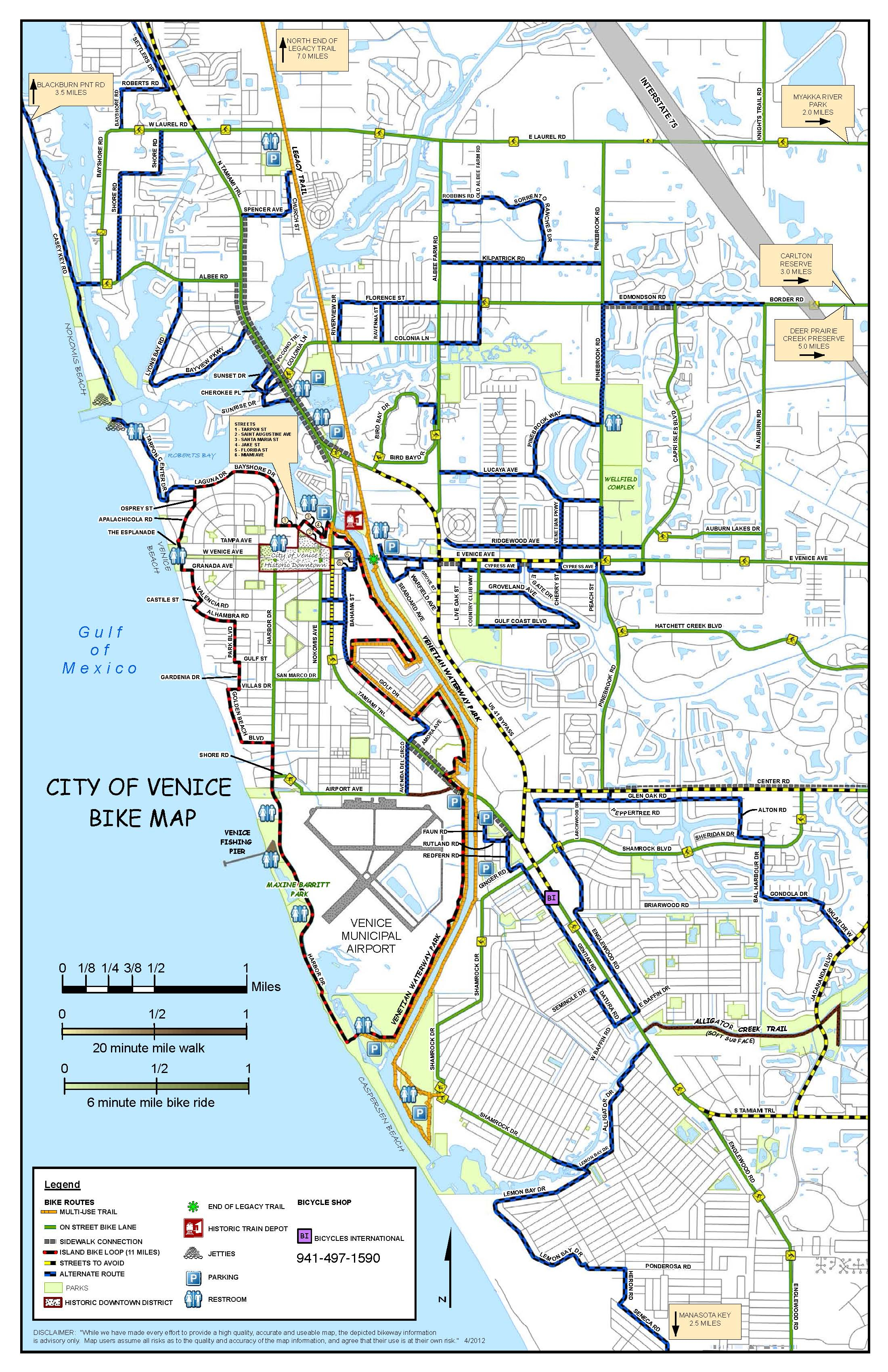 Where To Ride | Bicycles International | Bike Sales & Repair - Map Of South Venice Florida