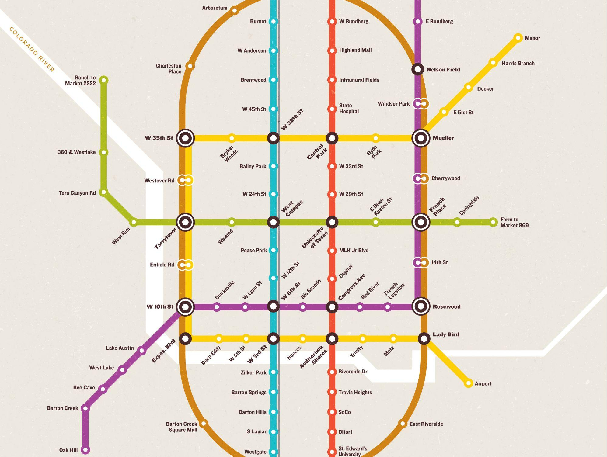 Why Can't Austin Have This Elaborate Subway System? | Kut - Austin Texas Public Transportation Map