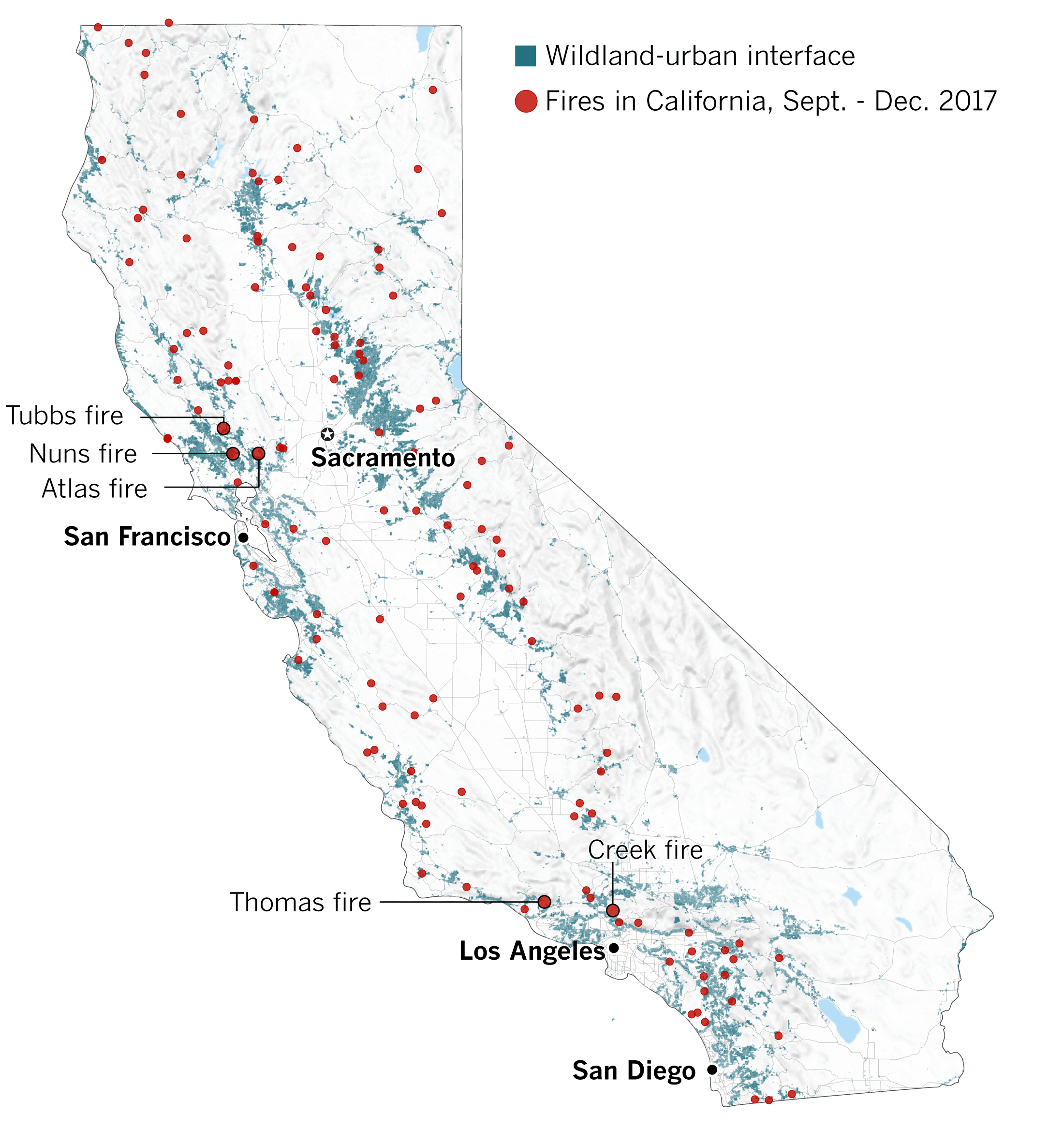 Why The 2017 Fire Season Has Been One Of California's Worst - Los - California Fire Map 2017