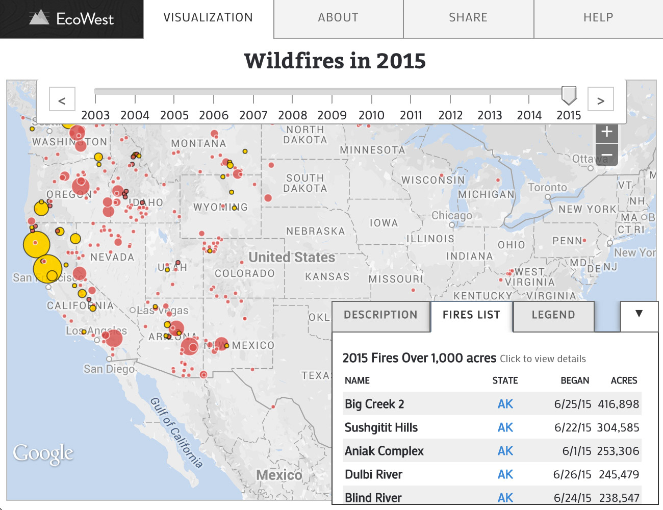 Wildfires In The United States | Data Visualizationecowest - West Texas Fires Map