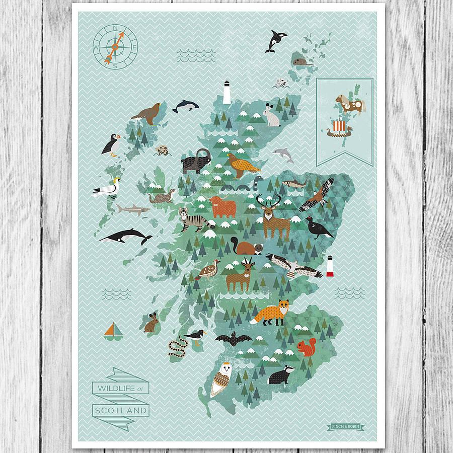 Wildlife Map Of Scotland Printkate Mclelland Shop - Printable Map Of Scotland
