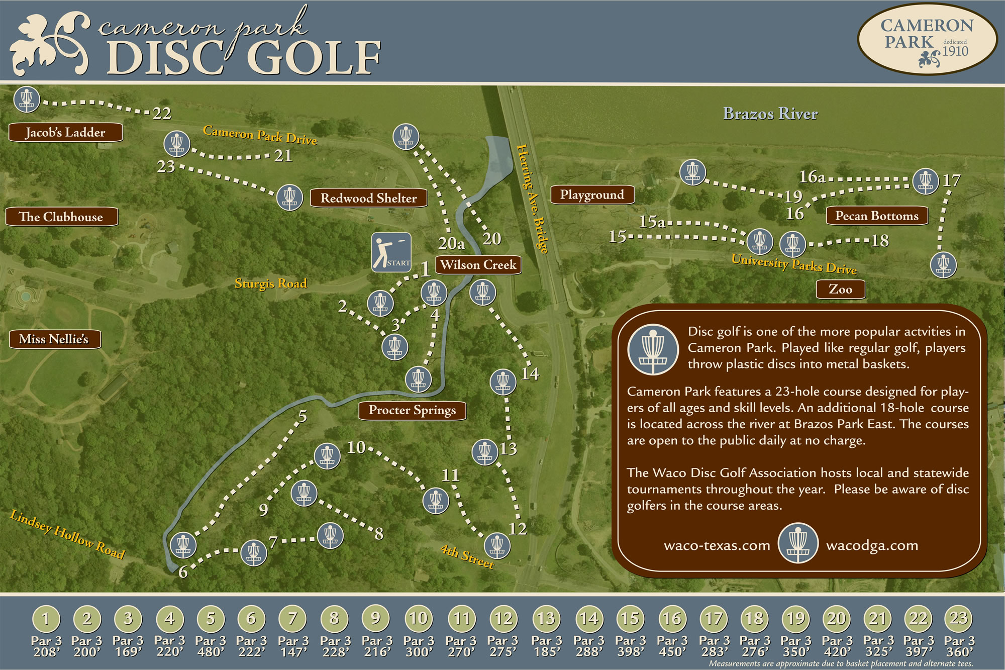William Cameron Park In Waco, Tx - Disc Golf Course Review - Texas Golf Courses Map