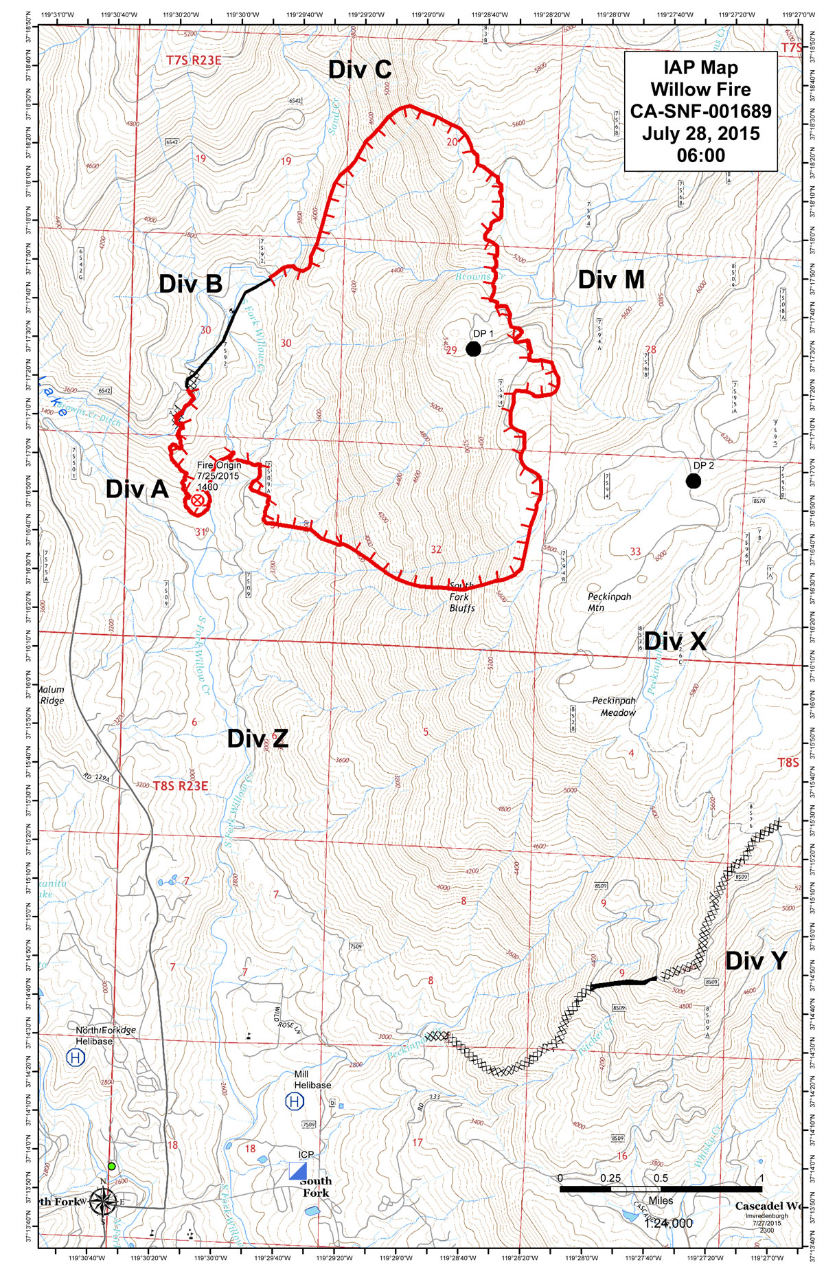Willow Fire Map In Madera County Near Bass Lake For July 28, 2015 - Bass Lake California Map