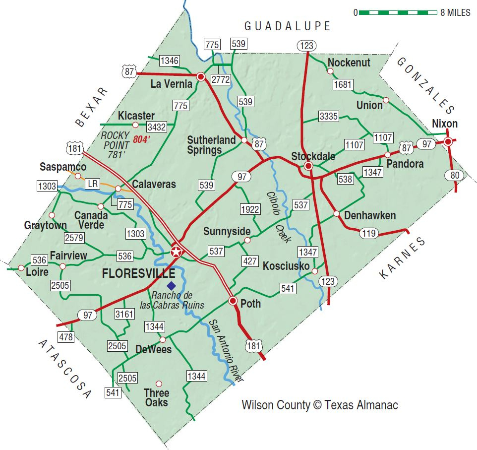 Wilson County | The Handbook Of Texas Online| Texas State Historical - Sealy Texas Map