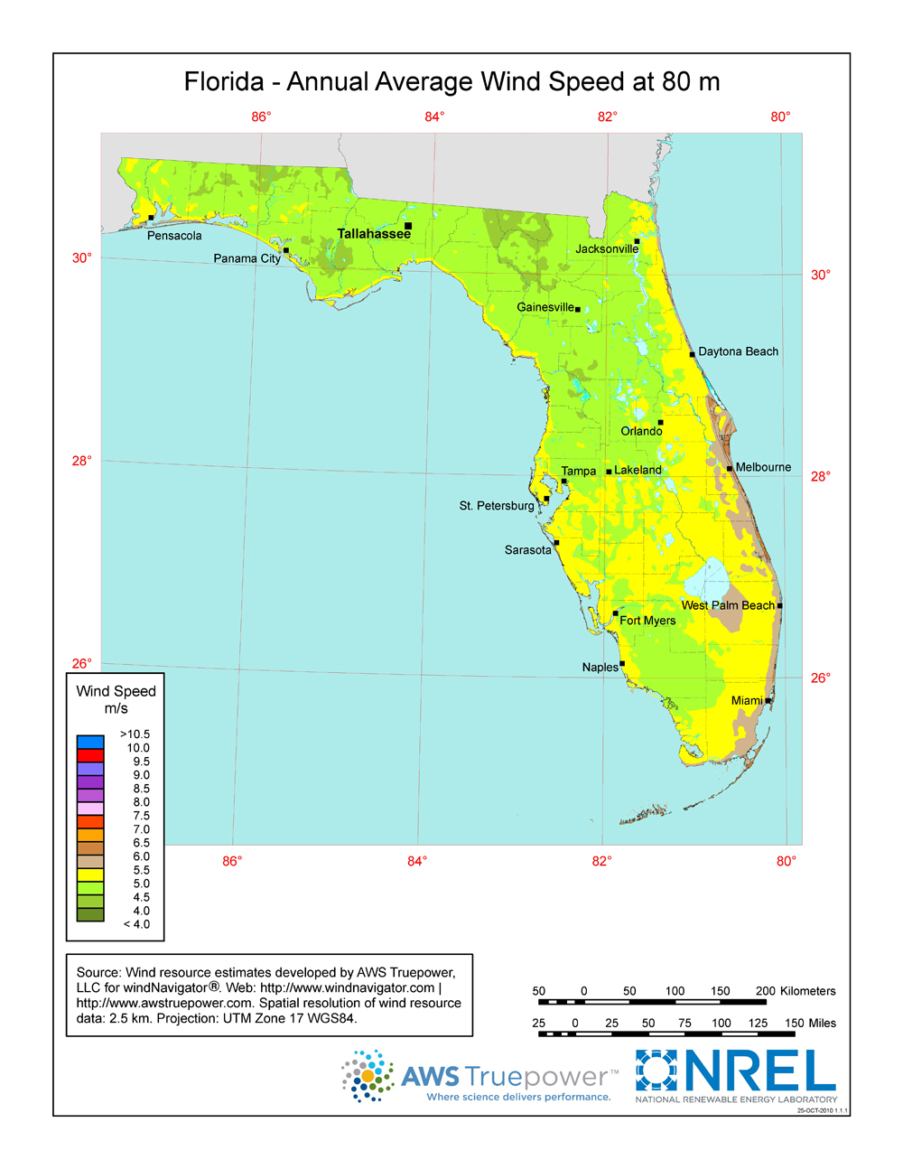 Windexchange: Florida 80-Meter Wind Resource Map - Florida Wind Speed Map