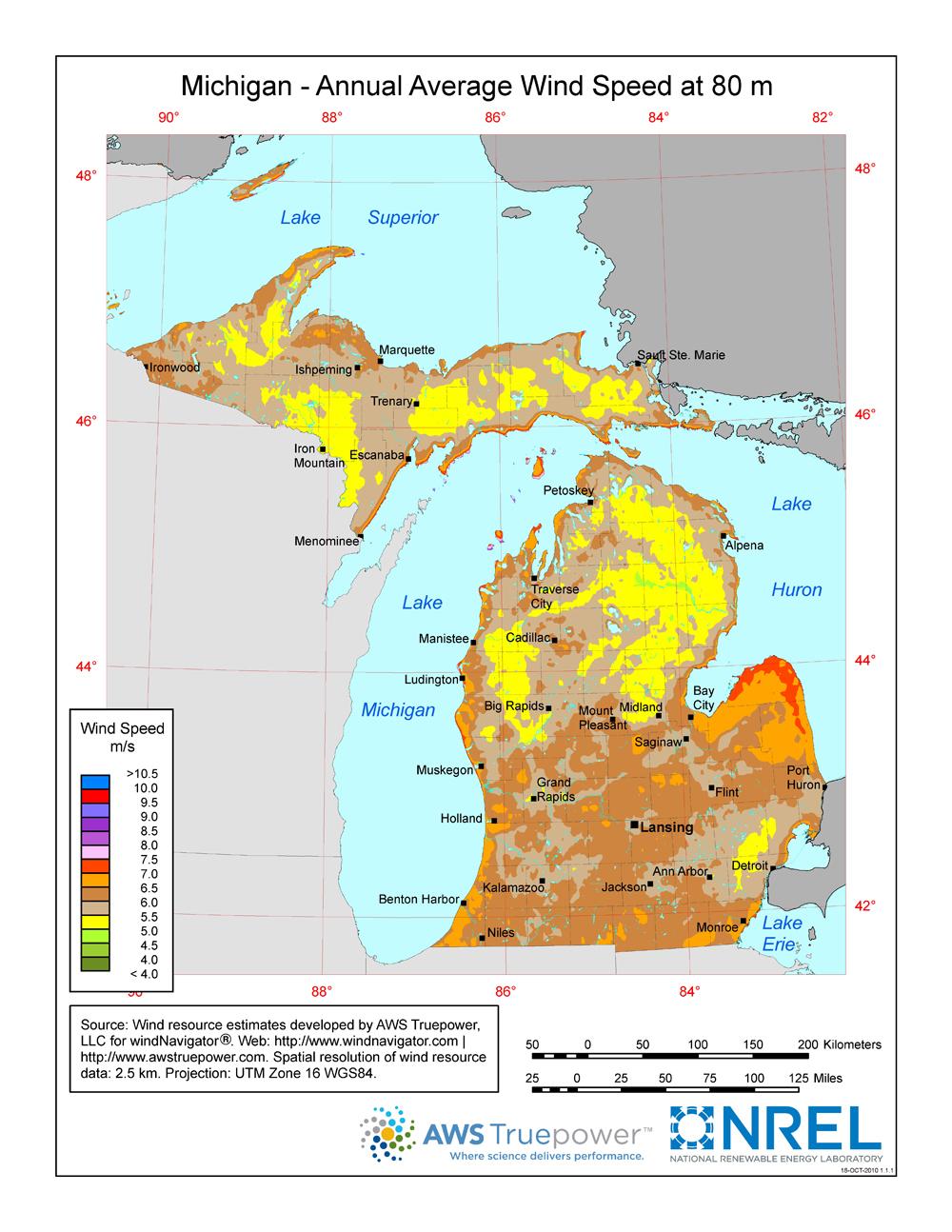 Windexchange: Wind Energy In Michigan - Florida Wind Zone Map 2017