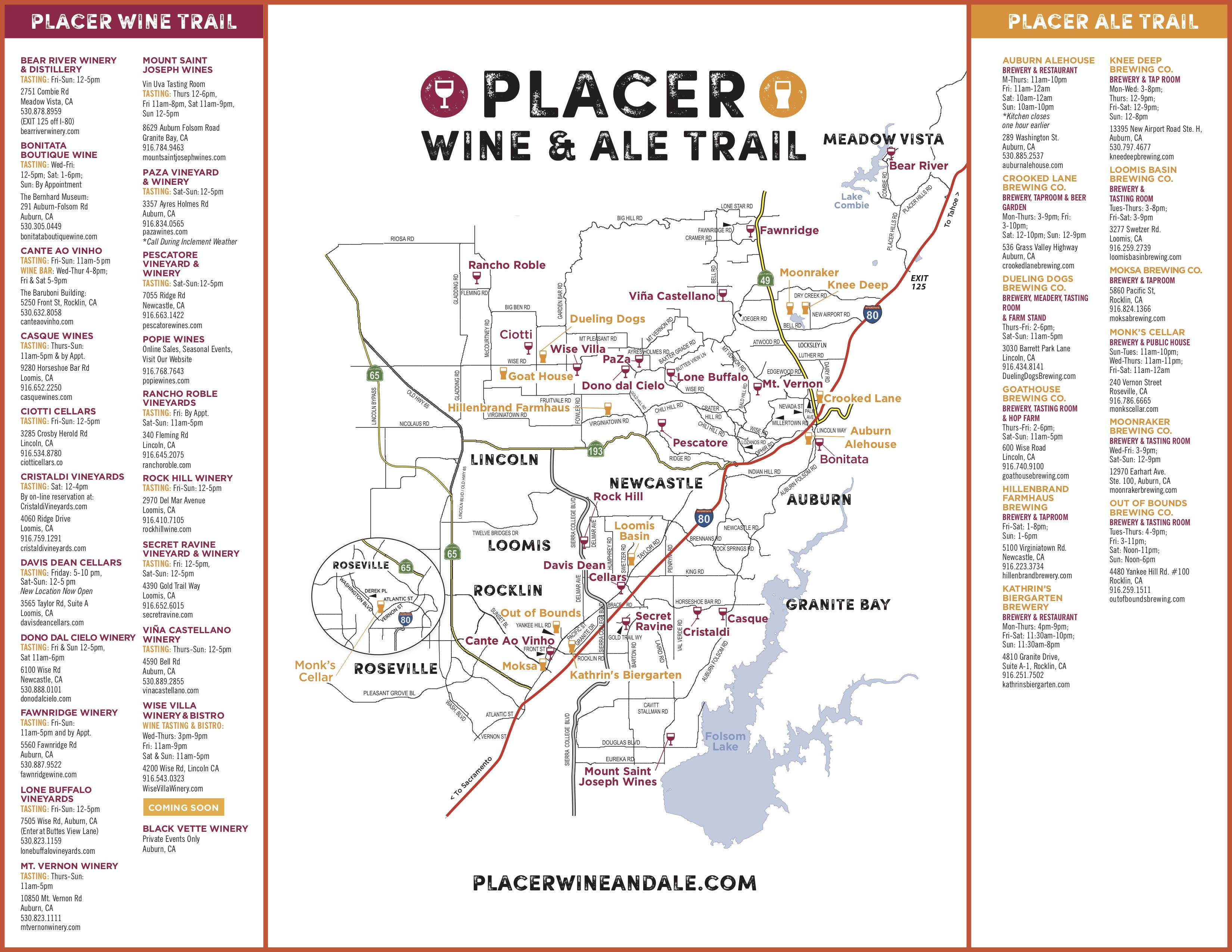 Wine & Ale Trails Of Placer County: Visit Northern California Wine - California Wine Trail Map