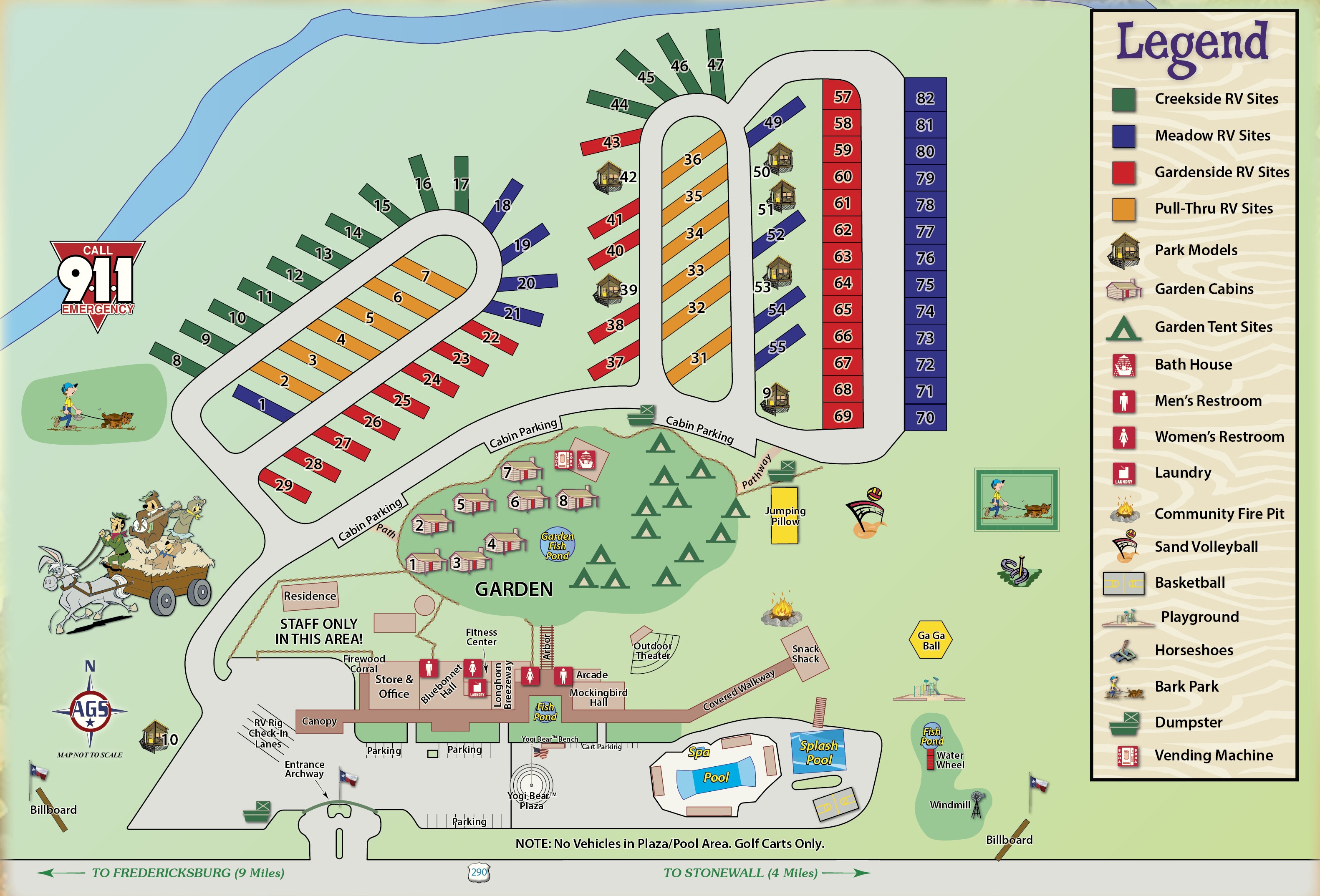 Wine Country Area Camping In Texas | Yogi Bear's Jellystone Park - Fredericksburg Texas Winery Map
