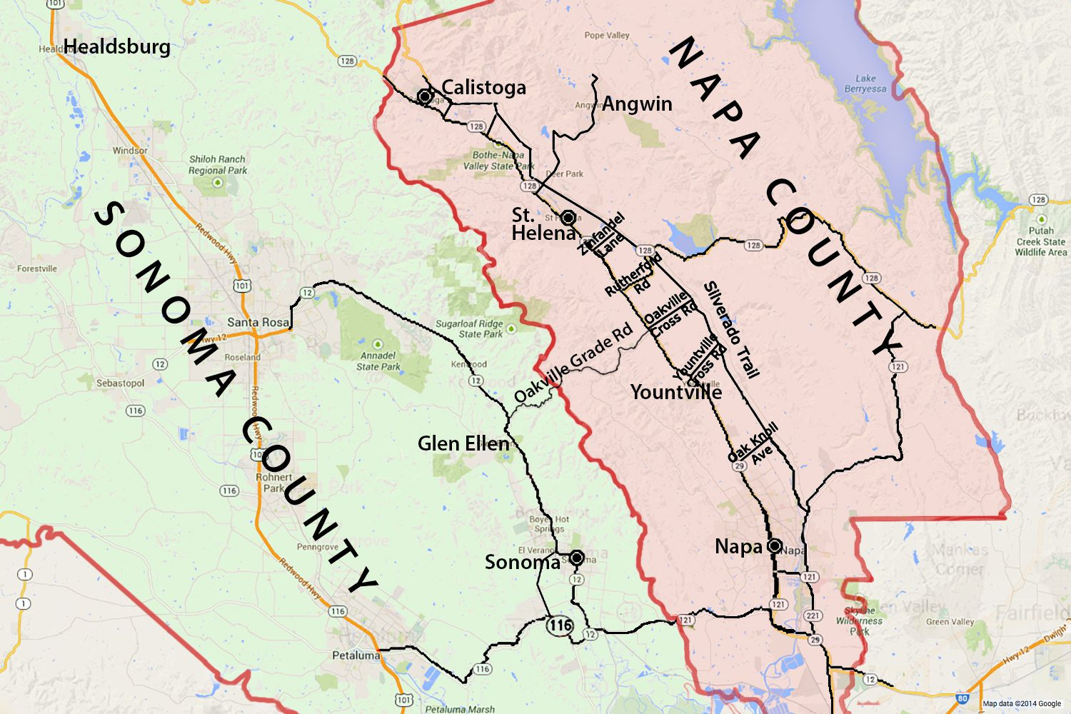 Wine Country Map: Sonoma And Napa Valley - Napa Valley California Map