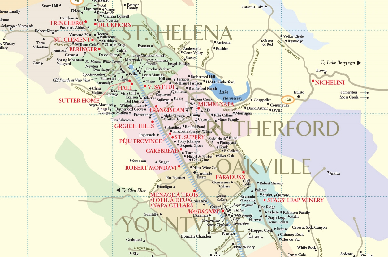 Winery Map California Map With Cities Napa Valley Map Of California - Napa Valley California Map