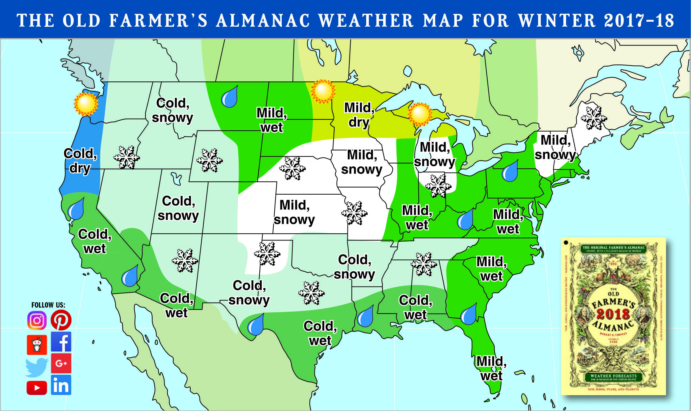 Winter Is Coming: Old Farmer's Almanac Sees 'cold, Snowy' Season - Texas Forecast Map