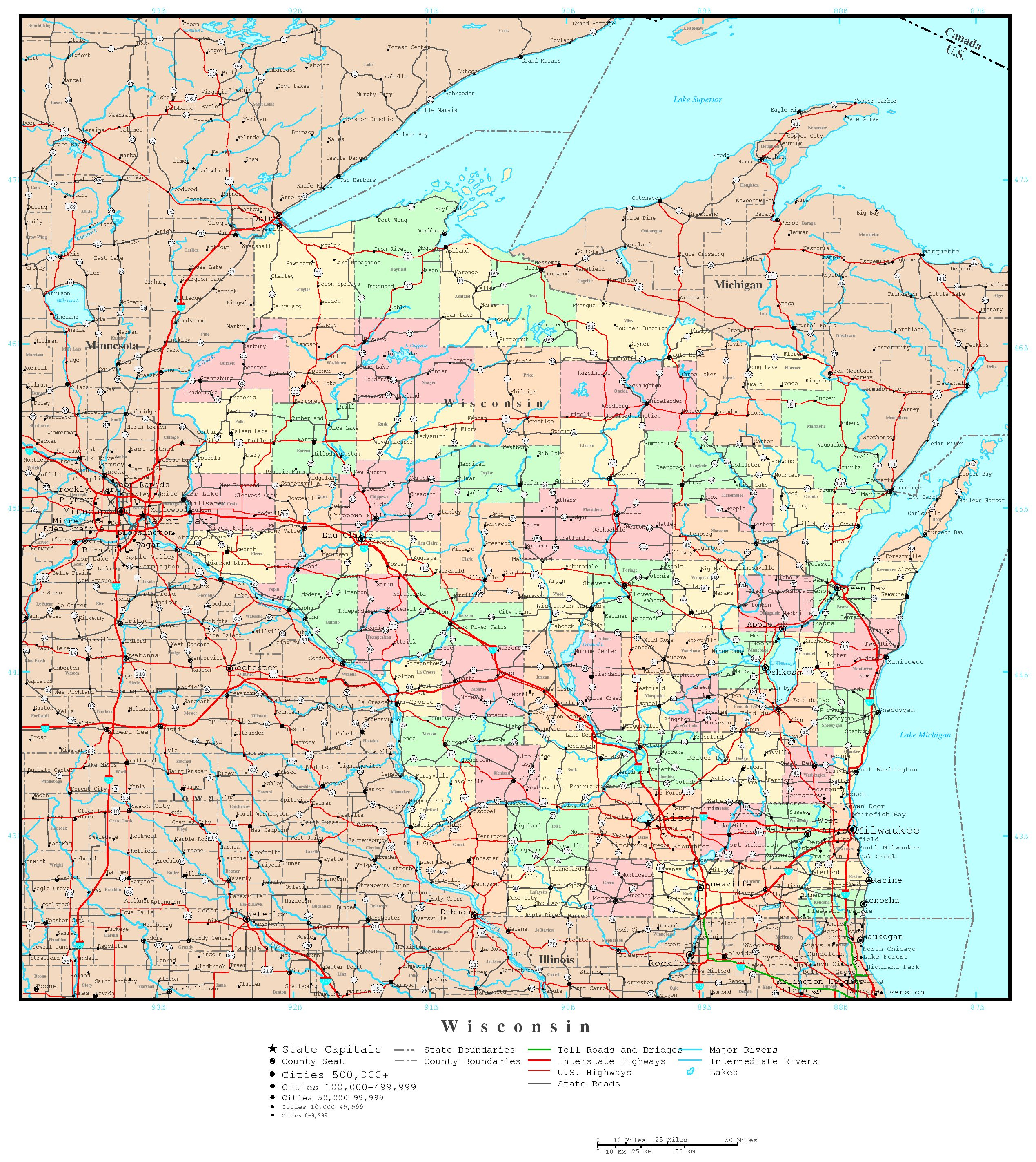 Wisconsin Political Map - Printable Map Of Downtown Madison Wi