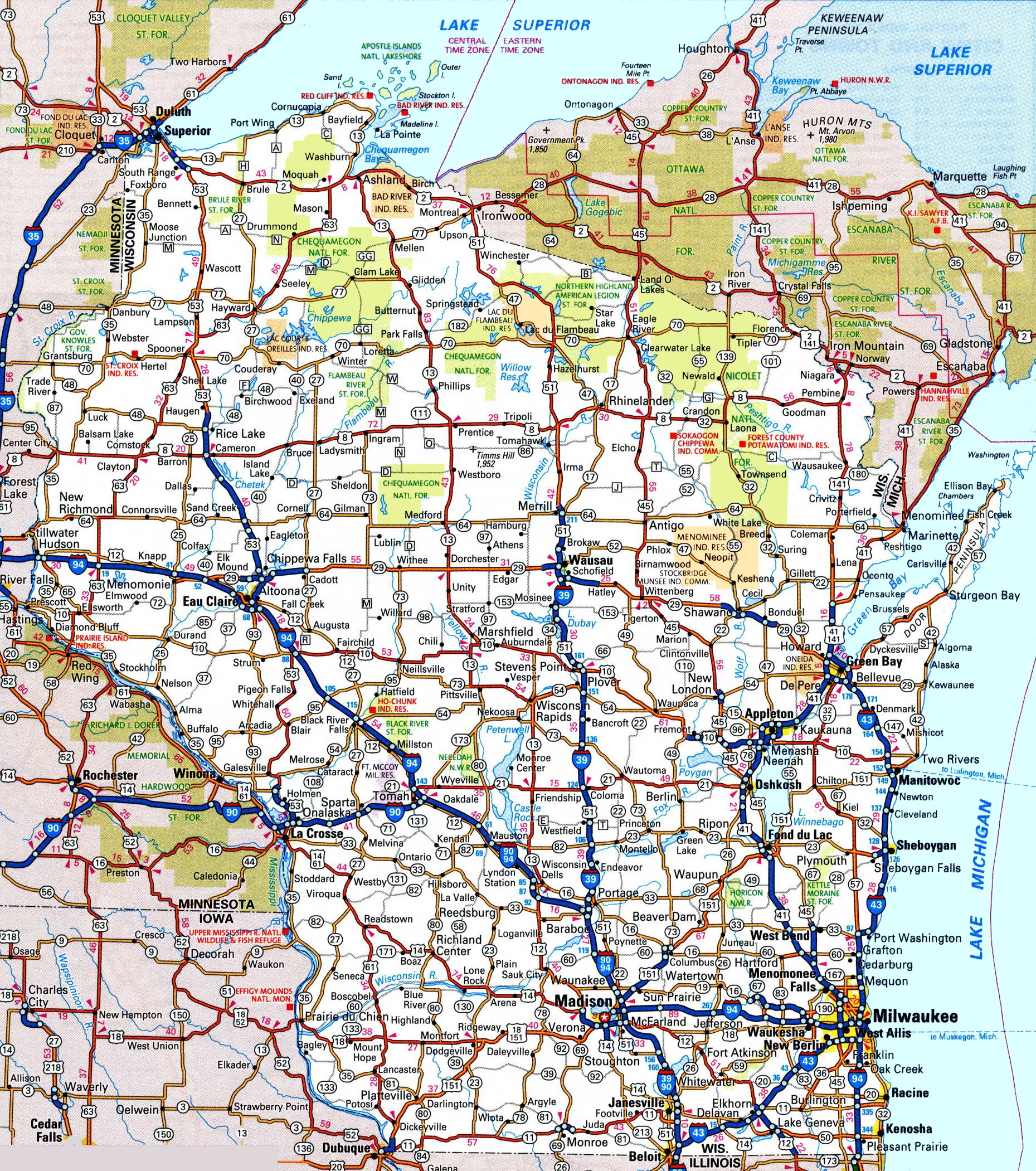 Wisconsin Road Map - Printable State Road Maps