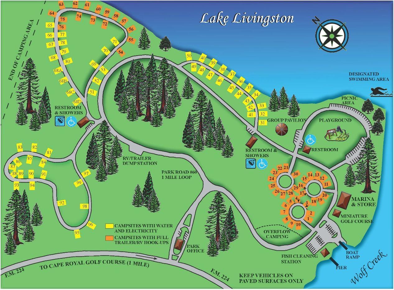 Wolf Creek Park Map - Lake Livingston, Coldspring, Tx. | Rving And - Map Of Lake Livingston Texas