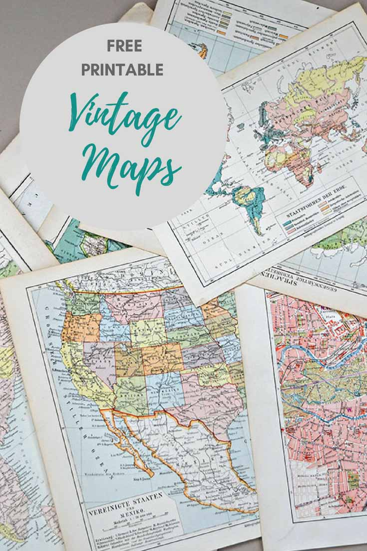 Wonderful Free Printable Vintage Maps To Download - Pillar Box Blue - Printable Antique Maps Free