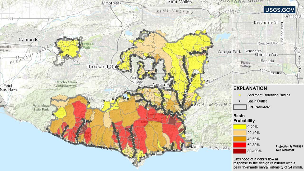 Woolsey Fire Mudslide Risk Map: Usgs Map Shows Likelihood Of Debris - Riverside California Fire Map