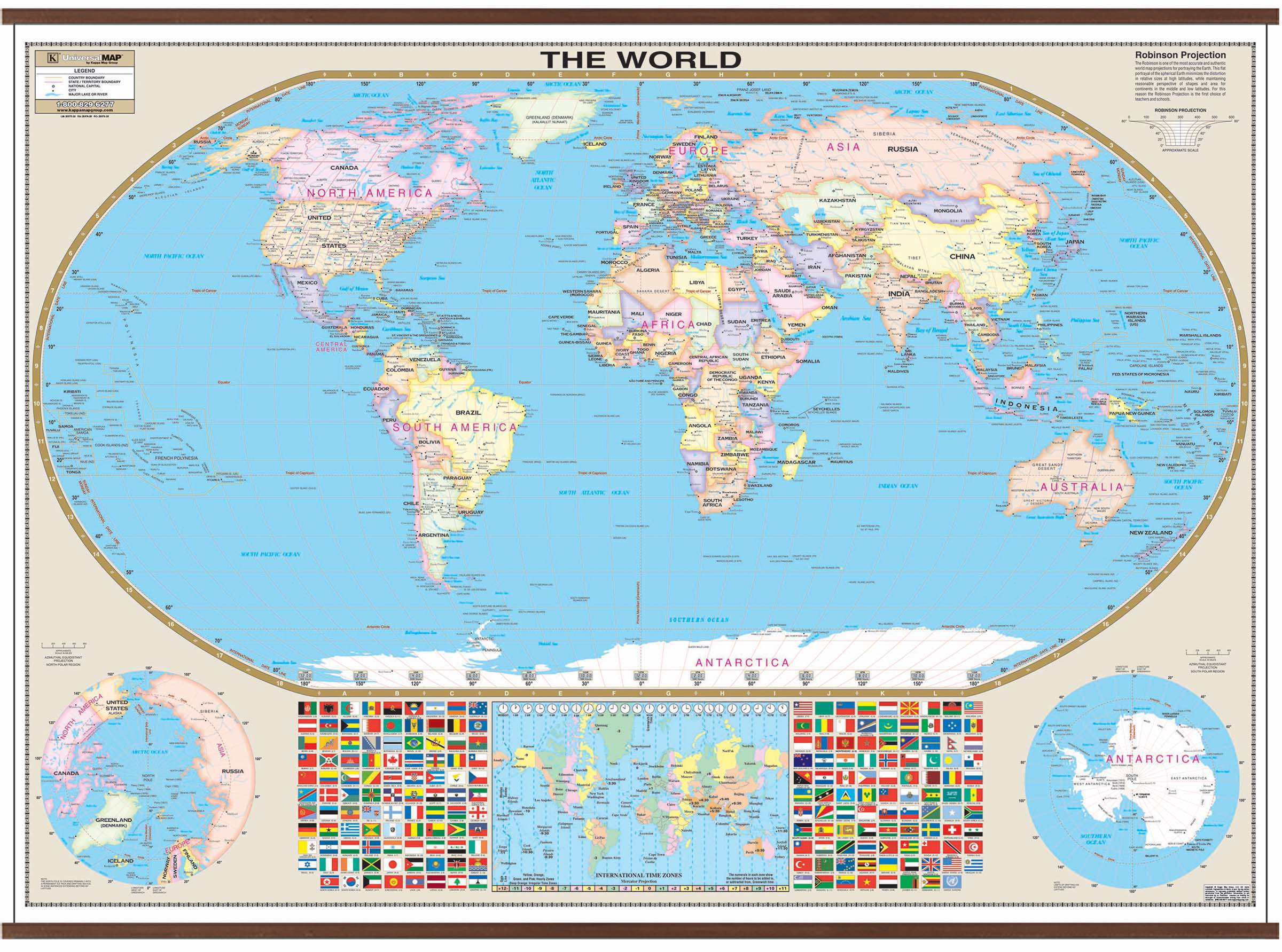 World Large Scale Wall Map – Kappa Map Group - Florida Wall Maps For Sale