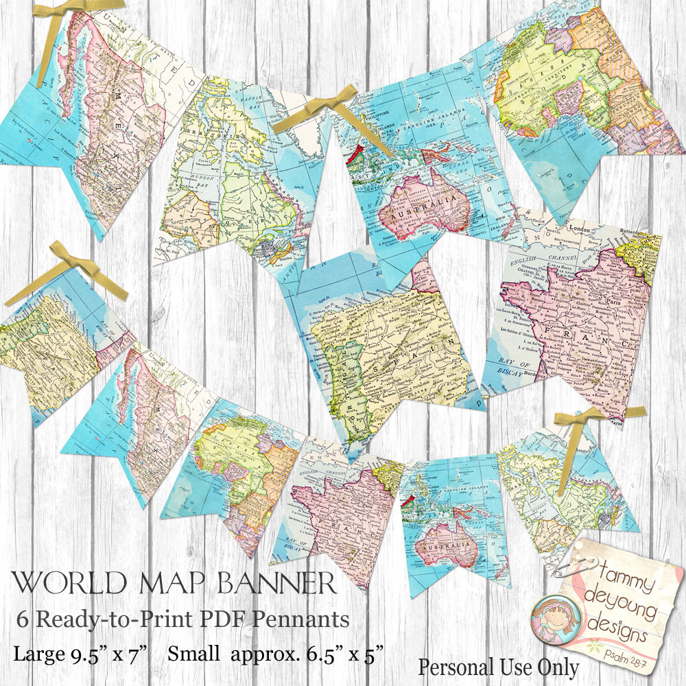 World Map Bunting. Map Garland Printable Map Banner Travel | Etsy - Printable Map Banner