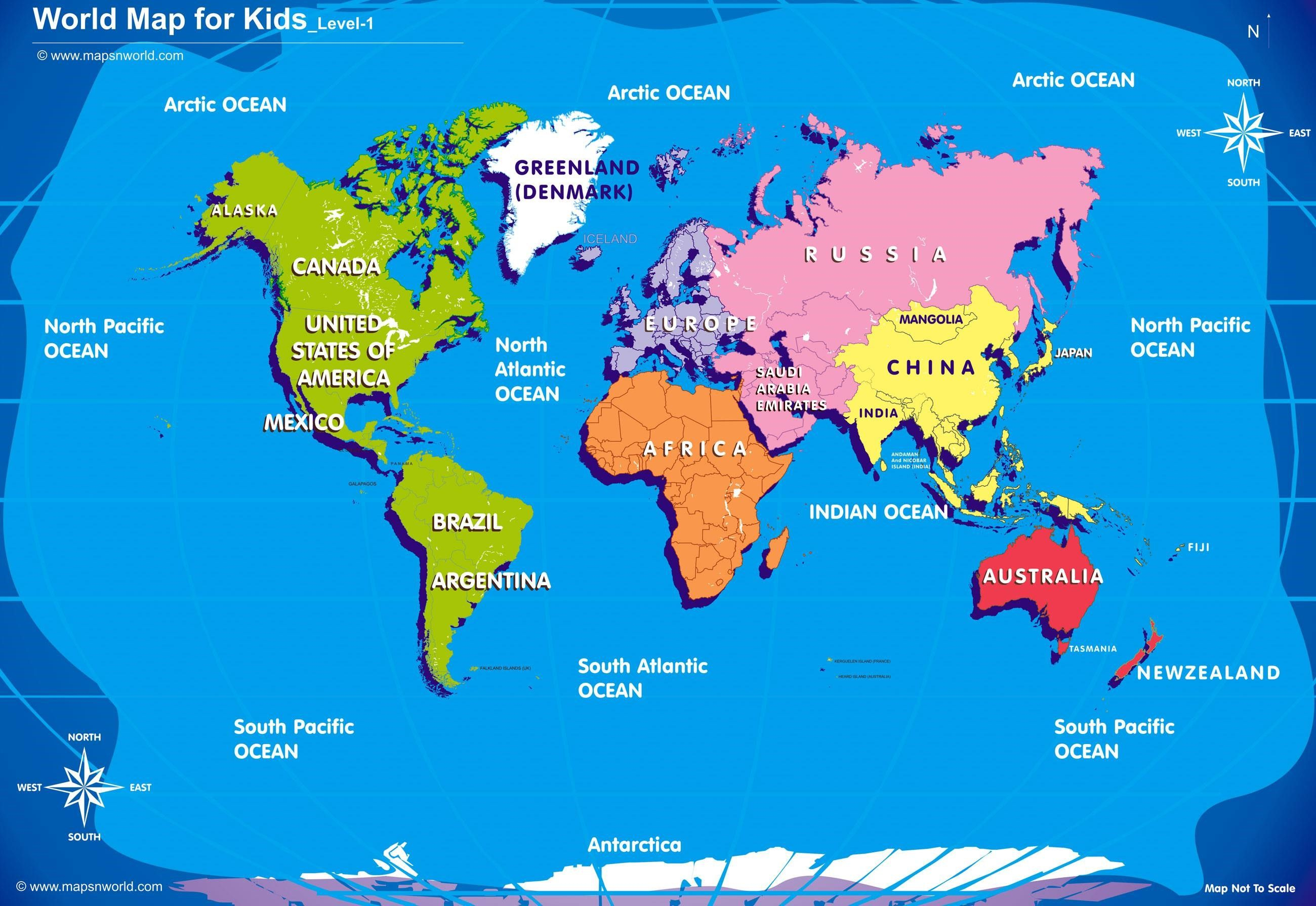 World-Map-For-Kids-Big-Size-W-R-Ibackgroundzcom | At Home Preschool - Children's Map Of The World Printable