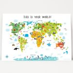 World Map For Kids Nursery Decor Instant Download High Res | Etsy   Children's Map Of The World Printable
