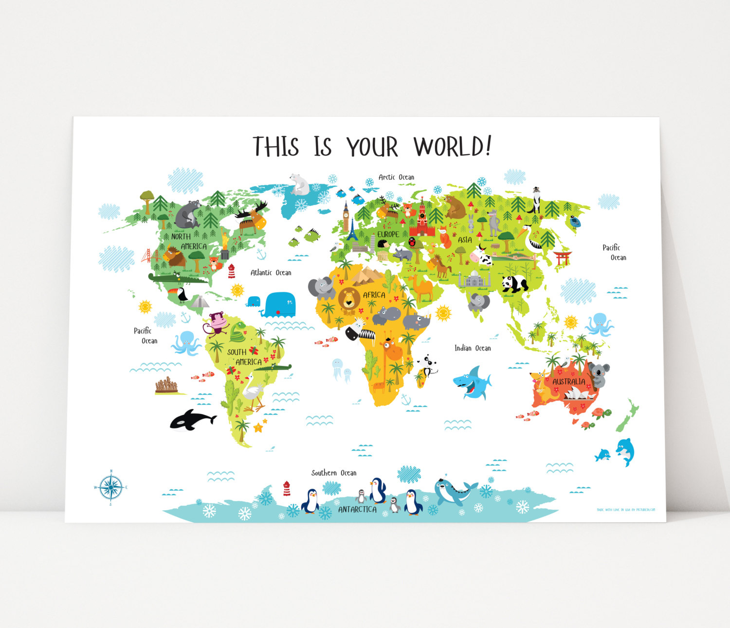 World Map For Kids Nursery Decor Instant Download High-Res | Etsy - Children's Map Of The World Printable