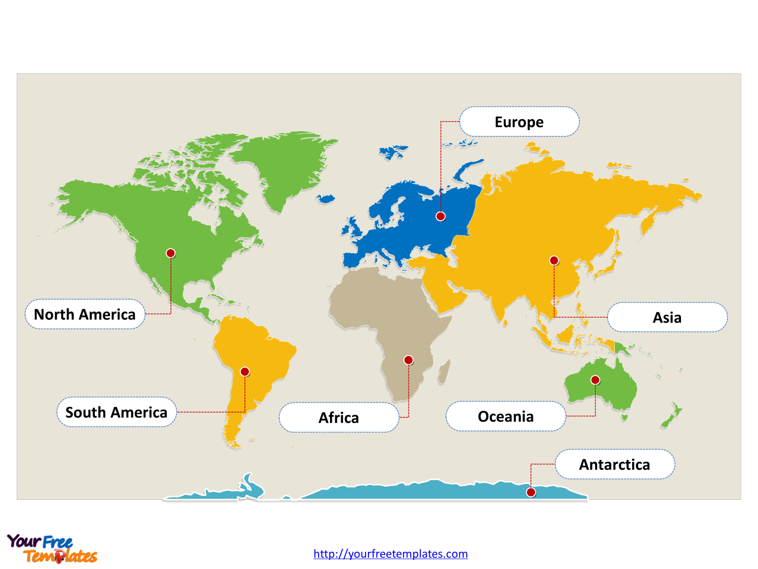 World Map With Continents - Free Powerpoint Templates - Blank Continent Map Printable