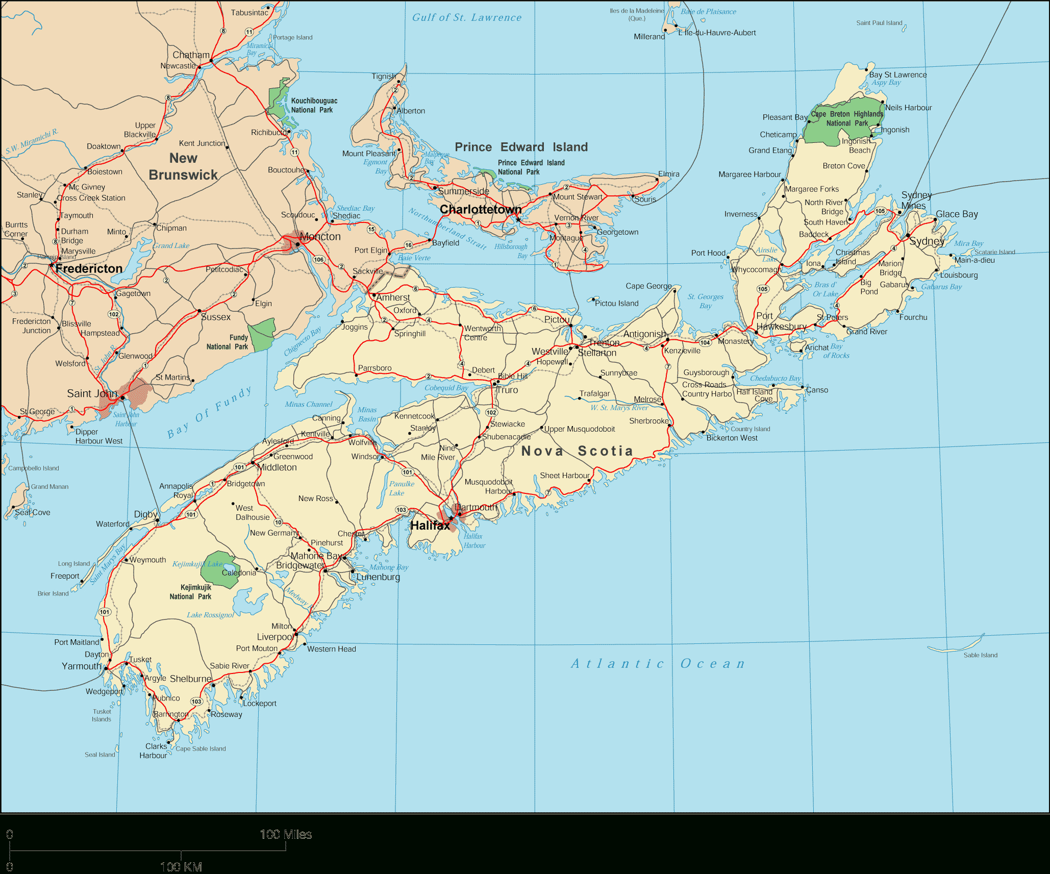 World Maps — World Maps Of Any Kind: Countries, Oceans, Political - Printable Map Of Nova Scotia