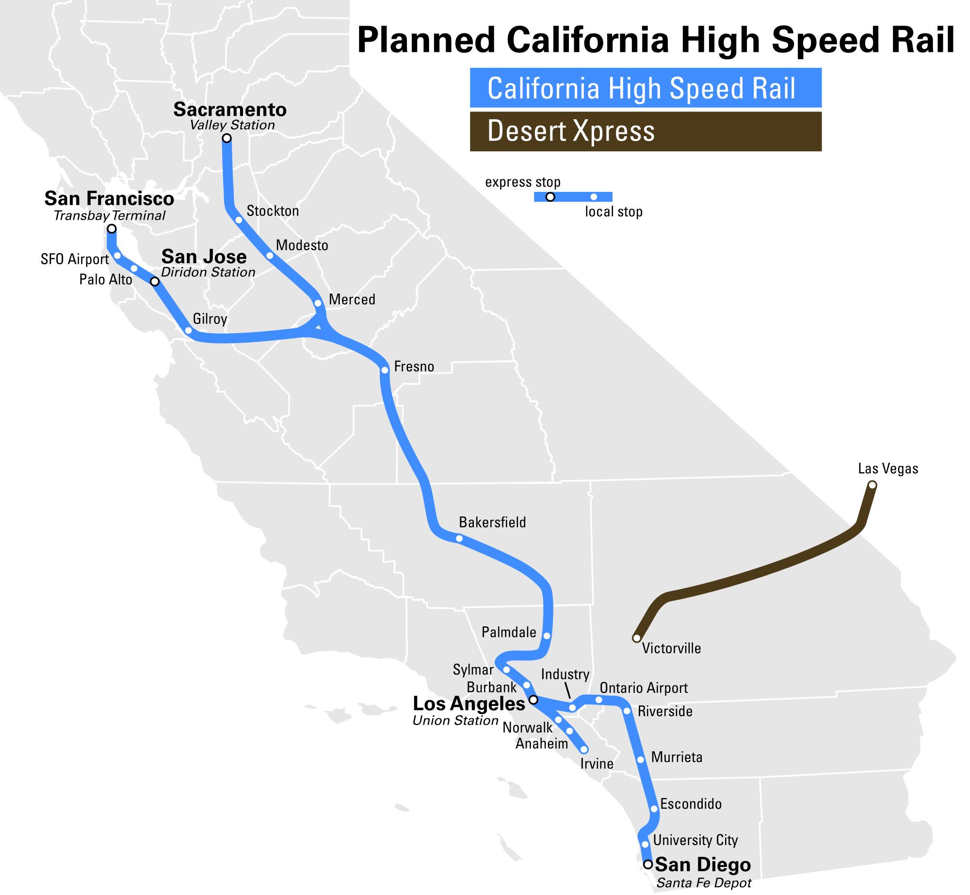Xpresswest High Speed Rail California State Map High Speed Rail Map - California Bullet Train Map