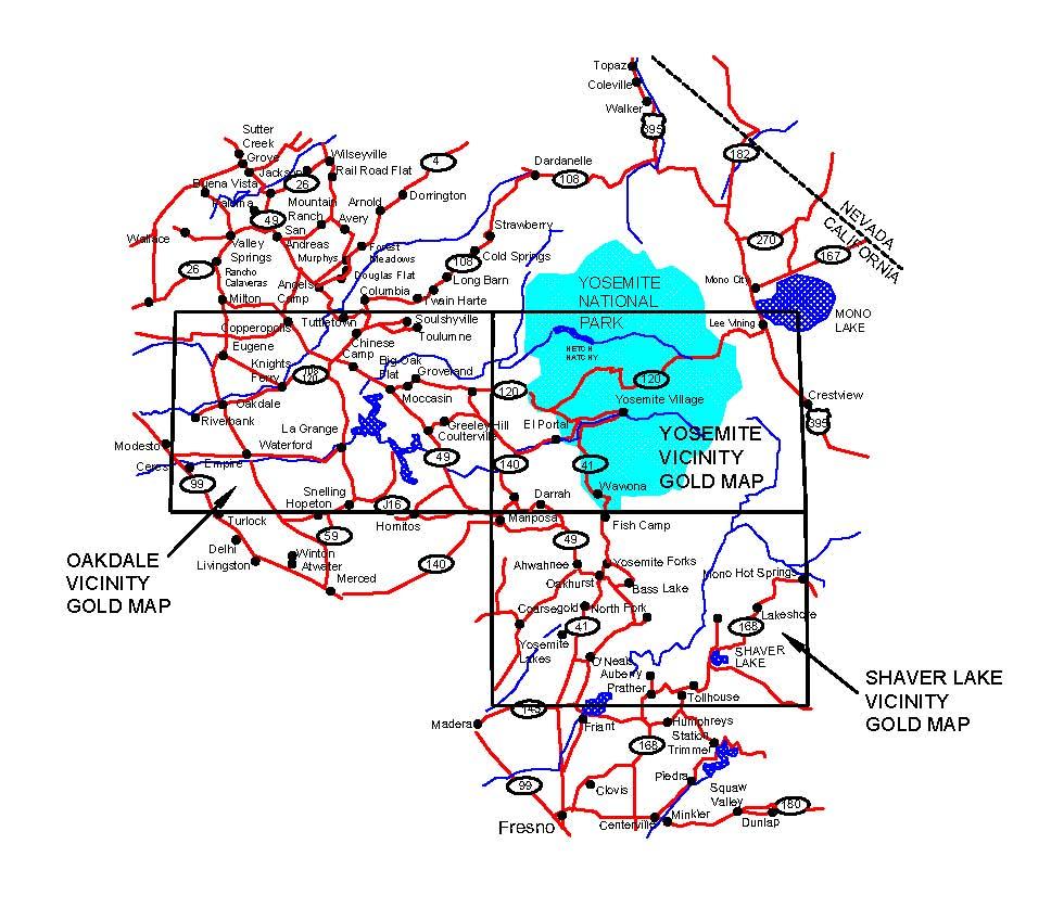 Yosemite Detail Map California Road Map California Ghost Towns Map - Shaver Lake California Map