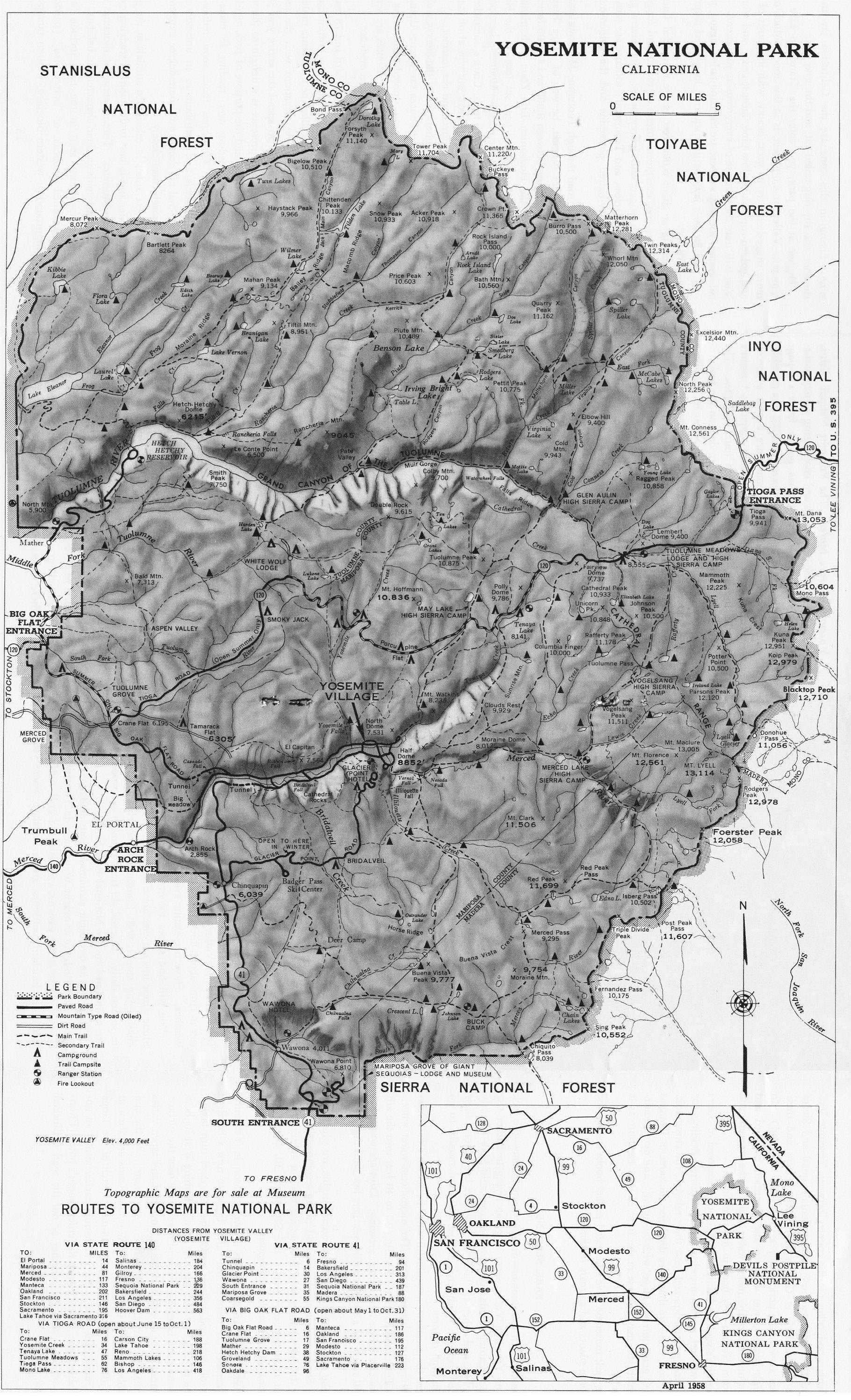 Yosemite Historic Maps (Yosemite Library Online) - California 511 Map