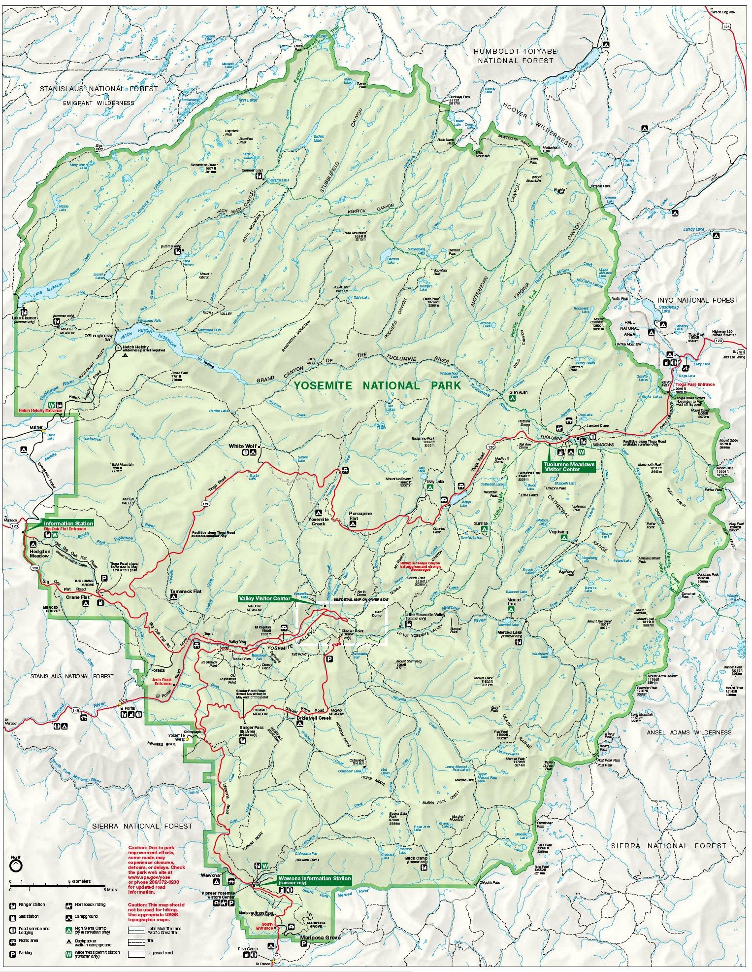 Yosemite National Park Map Large Map Of Yosemite On Map Of - Yosemite California Map