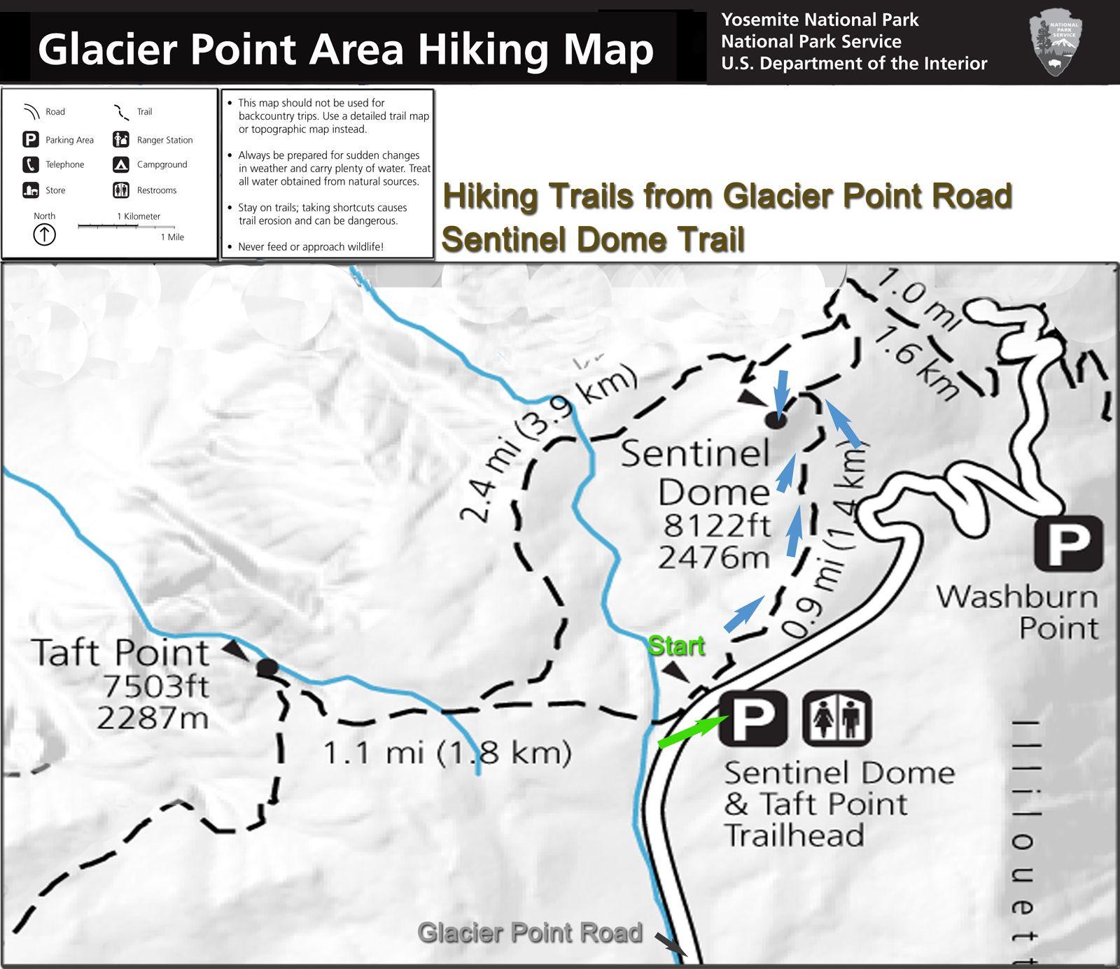 Yosemite National Park Map Of California Reference Begin At Sentinel - Taft California Map