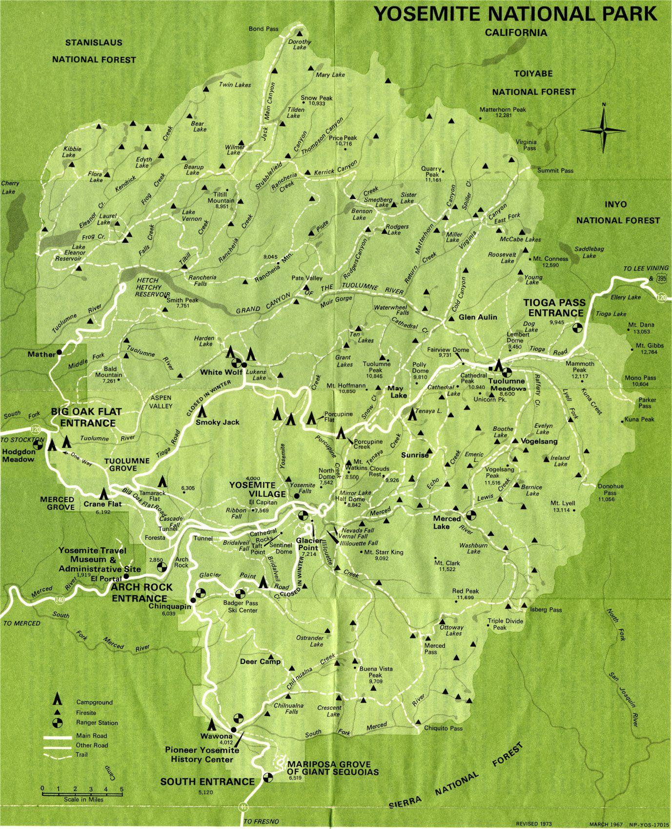 Yosemite National Park Map | Yosemite Valley Yosemite National Park - Yosemite California Map