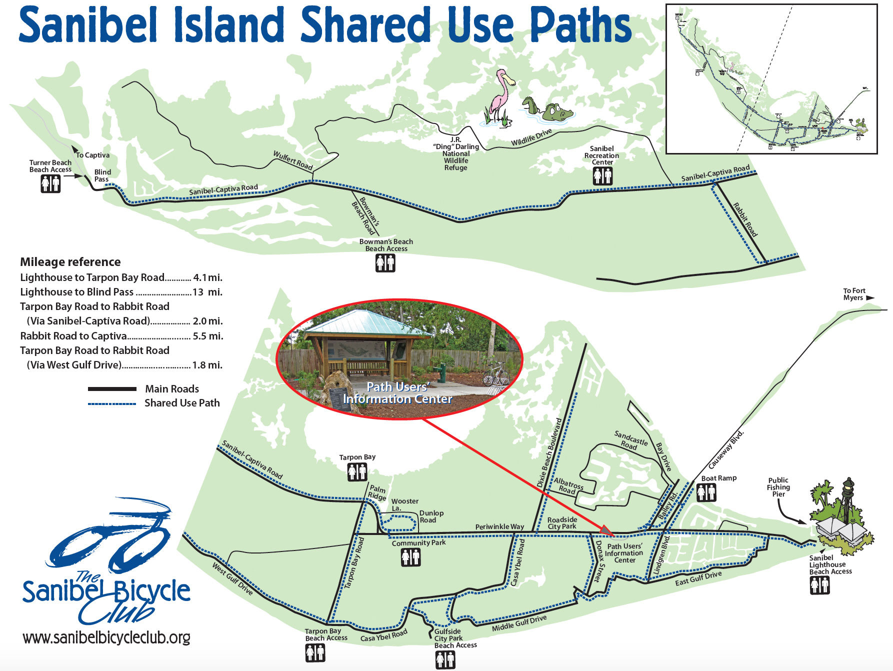 Your Guide To Sanibel Biking - Road Map Of Sanibel Island Florida