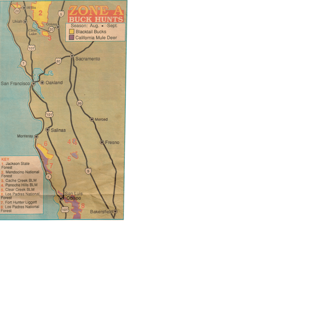 Zone A Maps California Hunting For Deer Where Best Spots, Public - California B Zone Deer Hunting Map